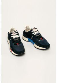Niebieskie sneakersy Wrangler na sznurówki, z okrągłym noskiem, z cholewką