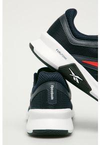 Niebieskie buty sportowe Reebok na sznurówki, z cholewką, z okrągłym noskiem