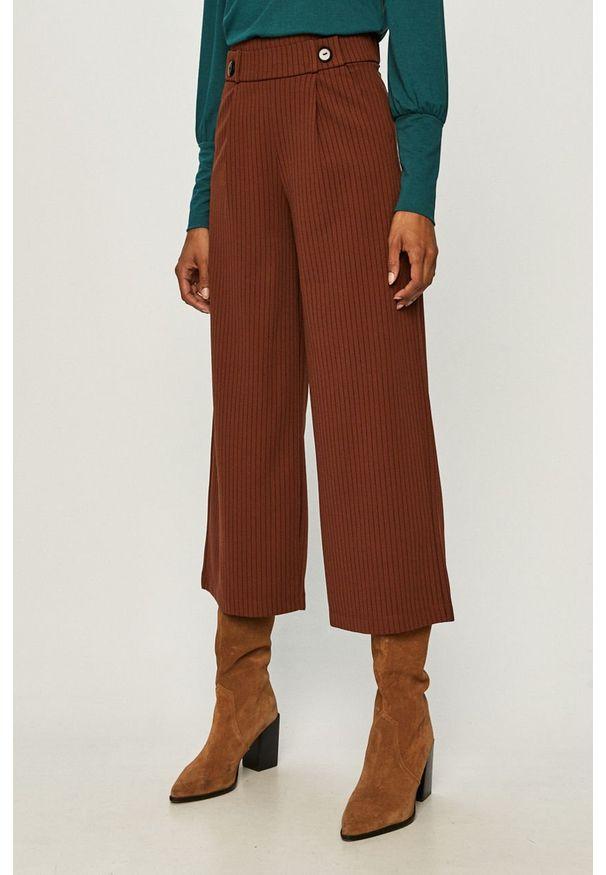 Brązowe spodnie materiałowe Jacqueline de Yong z podwyższonym stanem