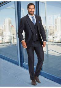 Garnitur 4-częściowy (marynarka, spodnie, kamizelka i krawat) bonprix ciemnoniebieski. Kolor: niebieski. Styl: elegancki #5