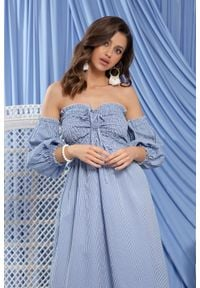 Fobya - Niebieska Midi Sukienka w Stylu Boho w Białą Krateczkę. Kolor: biały, niebieski, wielokolorowy. Materiał: bawełna. Styl: boho. Długość: midi