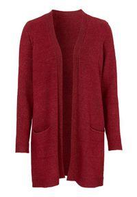 Czerwony sweter Cellbes melanż, z dekoltem w serek, klasyczny
