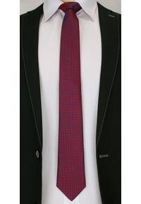Wyrazisty Krawat Męski- Chattier- 6,7 cm - Oryginalny Wzór, Czerwono-Granatowy. Kolor: niebieski, czerwony, wielokolorowy. Materiał: tkanina. Styl: wizytowy, elegancki