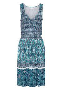 Sukienka shirtowa z nadrukiem bonprix ciemnoniebieski wzorzysty. Kolor: niebieski. Materiał: wiskoza. Długość rękawa: na ramiączkach. Wzór: nadruk. Sezon: lato