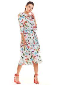 Infinite You - Ecru Klasyczna Rozkloszowana Sukienka z Kolorowym Wzorem. Materiał: poliester, elastan. Wzór: kolorowy. Styl: klasyczny