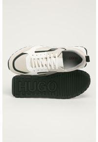 Białe sneakersy Hugo z okrągłym noskiem, na sznurówki, z cholewką