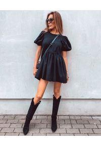 ICON - Lniana sukienka mini z falbanami Libi. Typ kołnierza: kokarda. Kolor: czarny. Materiał: len. Wzór: aplikacja. Sezon: lato. Typ sukienki: rozkloszowane. Długość: mini