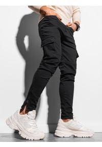 Ombre Clothing - Spodnie męskie joggery bojówki P924 - czarne - XXL. Kolor: czarny. Materiał: jeans, elastan, bawełna. Długość: krótkie