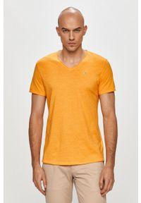 Pomarańczowy t-shirt Tommy Jeans na co dzień, melanż, casualowy
