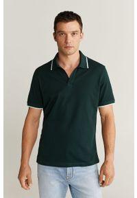 Zielona koszulka polo Mango Man z aplikacjami, na co dzień, casualowa, polo