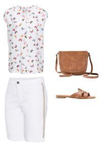 Białe jeansy bonprix na lato
