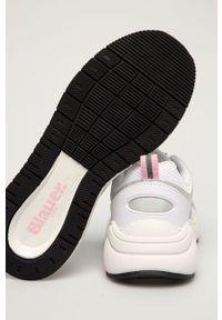 Białe buty sportowe Blauer na sznurówki, z cholewką