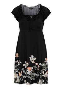 Happy Holly Sukienka dżersejowa Tessan Czarny w kwiaty female czarny/ze wzorem 32/34. Kolor: czarny. Materiał: jersey. Wzór: kwiaty