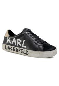 Czarne półbuty Karl Lagerfeld na co dzień, z cholewką, casualowe