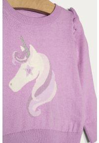 Fioletowy sweter GAP na co dzień, casualowy, z nadrukiem