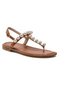 Stuart Weitzman Sandały Goldie T-Strap Sandal S4576 Brązowy. Kolor: brązowy