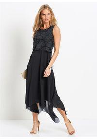 Sukienka szyfonowa z koronką bonprix czarny. Kolor: czarny. Materiał: szyfon, koronka. Wzór: koronka. Styl: wizytowy