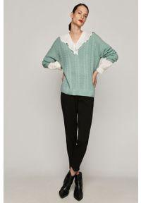 Zielony sweter medicine długi, casualowy, na co dzień