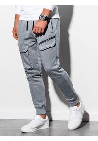 Ombre Clothing - Spodnie męskie dresowe joggery P905 - szary melanż - L. Kolor: szary. Materiał: dresówka. Wzór: melanż
