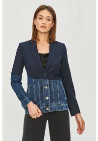 Niebieska kurtka Desigual bez kaptura, na co dzień, klasyczna