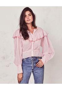 LOVE SHACK FANCY - Bluzka Susanne. Kolor: fioletowy, różowy, wielokolorowy. Materiał: materiał. Długość: długie. Wzór: aplikacja. Styl: elegancki