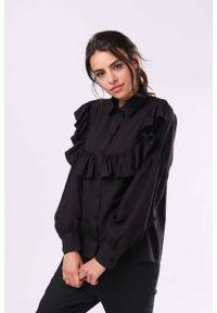 Czarna koszula Nommo z falbankami