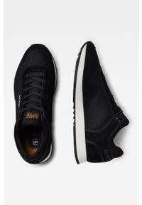 Czarne sneakersy G-Star RAW na sznurówki, z cholewką, z okrągłym noskiem