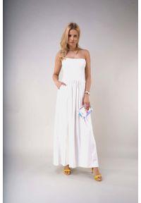 Nommo - Maxi Sukienka z Odkrytymi Ramionami - Ecru. Materiał: bawełna, poliester. Typ sukienki: z odkrytymi ramionami. Długość: maxi