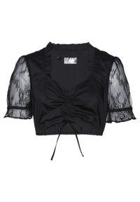 Bluzka ludowym stylu bonprix czarny. Kolor: czarny. Materiał: koronka. Styl: elegancki