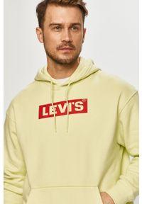 Zielona bluza nierozpinana Levi's® biznesowa, na spotkanie biznesowe, z kapturem, z nadrukiem