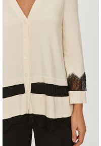 Kremowy sweter rozpinany TwinSet z długim rękawem, klasyczny, długi