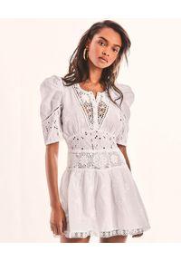 LOVE SHACK FANCY - Biała sukienka Divine. Kolor: biały. Materiał: bawełna, koronka. Wzór: haft, kwiaty, koronka, ażurowy. Długość: mini