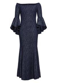 Niebieska sukienka bonprix z kołnierzem typu carmen, z odkrytymi ramionami