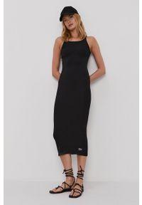 Dr. Denim - Sukienka. Kolor: czarny. Materiał: denim. Długość rękawa: na ramiączkach. Wzór: gładki. Typ sukienki: dopasowane