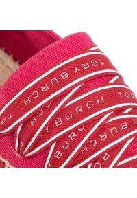 Czerwone półbuty Tory Burch na płaskiej podeszwie, z cholewką