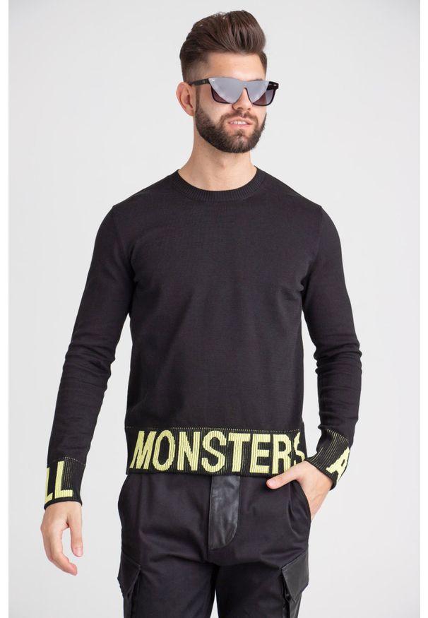 Sweter Just Cavalli w kolorowe wzory, z okrągłym kołnierzem