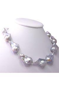 Braccatta - HAIRO naszyjnik z ogromnych szarych pereł barokowych. Materiał: srebrne. Kolor: szary. Wzór: aplikacja. Kamień szlachetny: perła