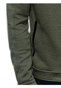 Ombre Clothing - Bluza męska rozpinana bez kaptura C453 - khaki - XL. Typ kołnierza: bez kaptura. Kolor: brązowy. Materiał: żakard, bawełna, poliester