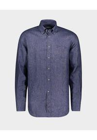 PAUL & SHARK - Niebieska lniana koszula. Kolor: niebieski. Materiał: len. Długość rękawa: długi rękaw. Długość: długie. Wzór: haft. Styl: klasyczny
