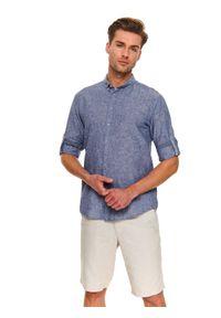 Niebieska koszula TOP SECRET z długim rękawem, długa, na co dzień