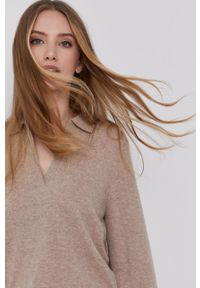 Samsoe & Samsoe - Samsoe Samsoe - Sweter. Okazja: na co dzień. Kolor: beżowy. Długość rękawa: długi rękaw. Długość: długie. Styl: casual #1