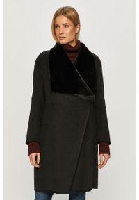 Czarny płaszcz Silvian Heach bez kaptura, klasyczny