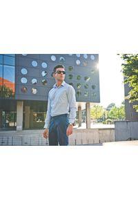VEVA - Męska Koszula Paski Prostopadłe Błękit. Typ kołnierza: kołnierzyk klasyczny. Kolor: niebieski. Materiał: materiał, bawełna. Długość rękawa: długi rękaw. Długość: długie. Wzór: paski