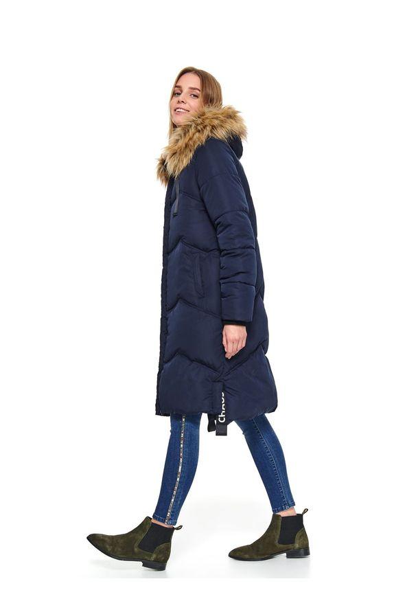 Niebieska kurtka TOP SECRET w kolorowe wzory, na jesień, długa