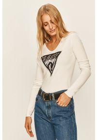 Biały sweter Guess Jeans na co dzień, długi