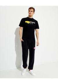 PALM ANGELS - Czarny t-shirt z grafiką. Kolor: czarny. Materiał: bawełna. Wzór: aplikacja. Styl: klasyczny