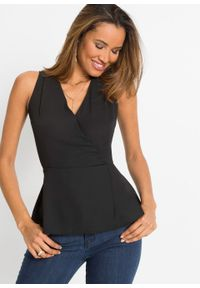 Bluzka z baskinką bonprix czarny. Kolor: czarny. Materiał: materiał. Styl: elegancki