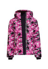 Różowa kurtka narciarska Descente w kwiaty, z asymetrycznym kołnierzem