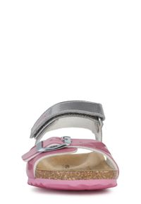 Srebrne sandały Geox na rzepy