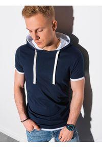 Ombre Clothing - T-shirt męski z kapturem bez nadruku S1376 - granatowy - XXL. Okazja: na co dzień. Typ kołnierza: kaptur. Kolor: niebieski. Materiał: jersey, dzianina, bawełna. Styl: casual, klasyczny